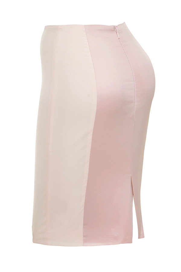 clothing skirts raissa pink satin and stretch jersey