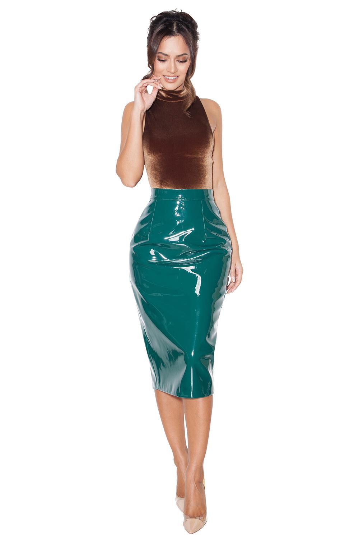 clothing skirts rodell evergreen patent vegan