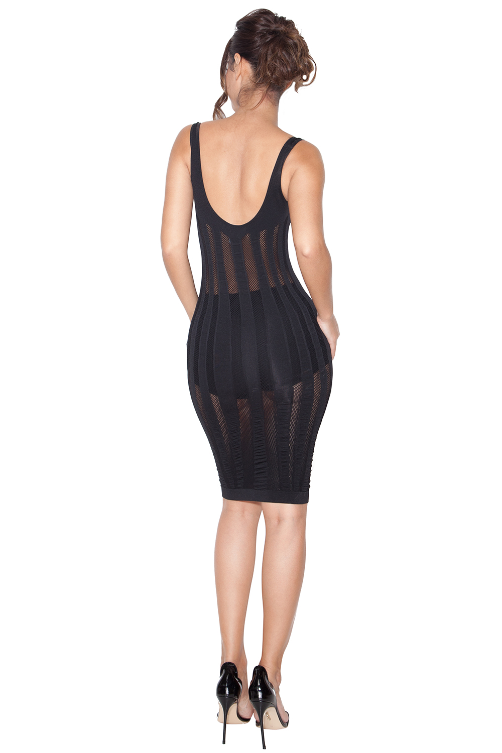 Clothing Bodycon Dresses Solaina Black Knitted Lycra