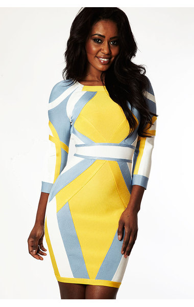 Sabina Yellow, Blue & White Bandage Dress