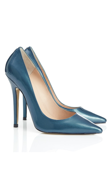 Paris Pearlised Petrol Blue Leather High Heel